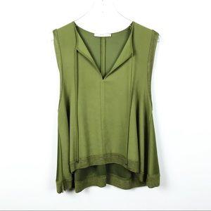 ZARA   Green Sleeveless High Low Blouse